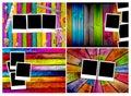 Set of Blank Polaroids on Wood Backgrounds Royalty Free Stock Photo