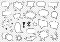 Set of blank template in Pop Art style. Vector Comic Text Speech Bubble Halftone Dot Background. Empty Cloud of Comics book dialog Royalty Free Stock Photo