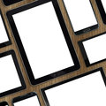 Set of blank templates digital devices on wooden tabletop Stock Photos