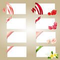 Set of blank white cards with ribbons Stock Photography