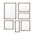 Set of Blank wood photo frame on white background vector eps10 Royalty Free Stock Photo