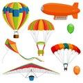 Set of blimp, paraglider and kite, air balloon and parachutes realistic vector Royalty Free Stock Photo