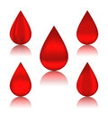 Set blood drops with reflections illustration different variation Stock Images