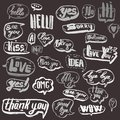 A set of blsck and white and retro comic book design elements with speech bubbles. Doodle design with short messages Royalty Free Stock Photo