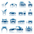 Set blue automotive icons Stock Photography