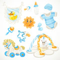 Set of blue baby toys objects clothes and things isolated on white background Stock Photo
