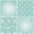 Set of blue backgrounds with snowflakes vector illustration two are seamless patterns and the other two Royalty Free Stock Images