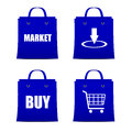 Set of blue bags for shopping online with discount internet Stock Images