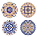 Set of blue and beige mandalas. Vector illustration Royalty Free Stock Photo