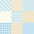 Set of blue and beige seamless geometric patterns. Vector illustration.
