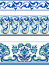 Set of blue borders seamless patterned Stock Photography