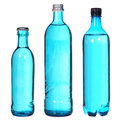 Set of blue bottles isolated on white Stock Photography