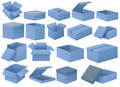 Set of blue boxes Royalty Free Stock Photo