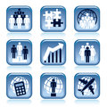 Set blue business icons over white background Stock Images