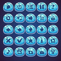 Set blue buttons for web video game in style marmalade Royalty Free Stock Photo