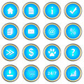 Set of blue buttons on a white background Stock Images