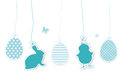 Set of blue easter hangtags Royalty Free Stock Photo