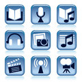 Set blue entertainment icons over white background Royalty Free Stock Image
