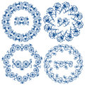 Set of  blue floral circle frames. Royalty Free Stock Photo