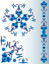 Set of blue floral elements Stock Image