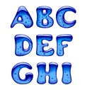 Set of blue gel, ice and caramel alphabet capital letters isolat