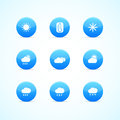 Set of blue glossy weather icons Stock Images