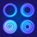 Set of blue glow circular shapes Royalty Free Stock Photos