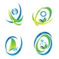 Set of blue & Green Icon Logo Royalty Free Stock Photo