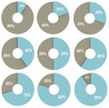 Set of blue and grey pie charts 10, 20, 30, 40, 50, 60, 70, 80, 90 percent isolated Royalty Free Stock Photo