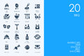 Set of BLUE HAMSTER Library BBQ icons Royalty Free Stock Photo