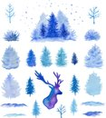 Vector watercolor Christmas design elements Royalty Free Stock Photo