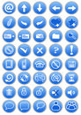 Set of blue icons Royalty Free Stock Photo