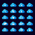 Set of blue icons cloud Royalty Free Stock Photo