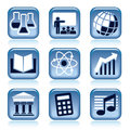 Set blue icons school subjects over black background Royalty Free Stock Photo