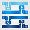 Set of blue infographic curled ribbons with icons numbered options modern design business options banner illustration Royalty Free Stock Image