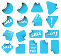 Set of blue labels badges and stickers Royalty Free Stock Image