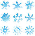Set Of Blue Melting Snowflakes Royalty Free Stock Photography