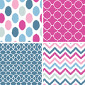 Set of blue and pink ikat geometric seamless vector patterns backgrounds with hand drawn elements Royalty Free Stock Photo