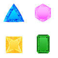 Set of blue pink yellow green jewels Stock Images