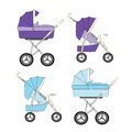 Set of blue and purple modern strollers Royalty Free Stock Photo