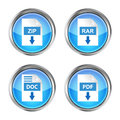 Set of blue rar zip doc and pdf download icons on a white back background Stock Images