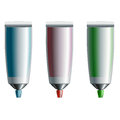 Set of blue, red, and green tubes of toothpaste Royalty Free Stock Photo