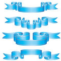Set of blue ribbons Stock Photo