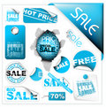 Set of blue sale tickets, labels and stickers Stock Image