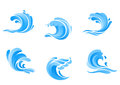 Set of blue sea waves isolated on white background Stock Photography