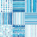 Set of blue seamless pattern for baby boys Stock Images
