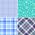 Set blue seamless patterns Royalty Free Stock Photos