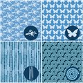Set of blue seamless patterns can be used for wallpaper website background textile printing Stock Images