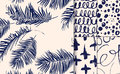 Set of blue seamless patterns drawn with dry brush.