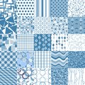 Set of blue seamless patterns pattern can be used for wallpaper website background textile printing Stock Photos